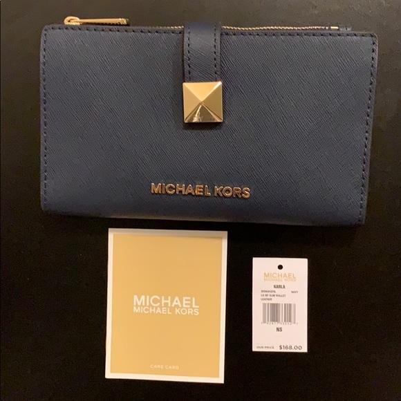 b80ff464258adc Michael Kors Bags | New Micheal Kors Karla Lg Mf Slim Leather Wallet ...